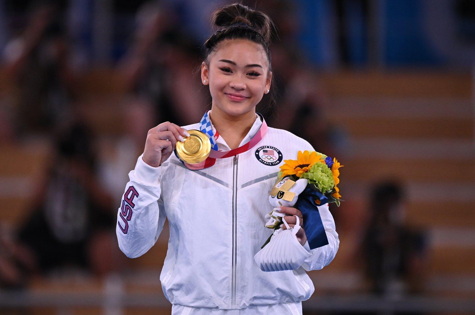 U.S.'s Sunisa Lee pose with the Tokyo 2020 Olympics gymnasticswomen's individual all-around gold, Ariake Gymnastics Center, Tokyo, Japan, July 29, 2021.