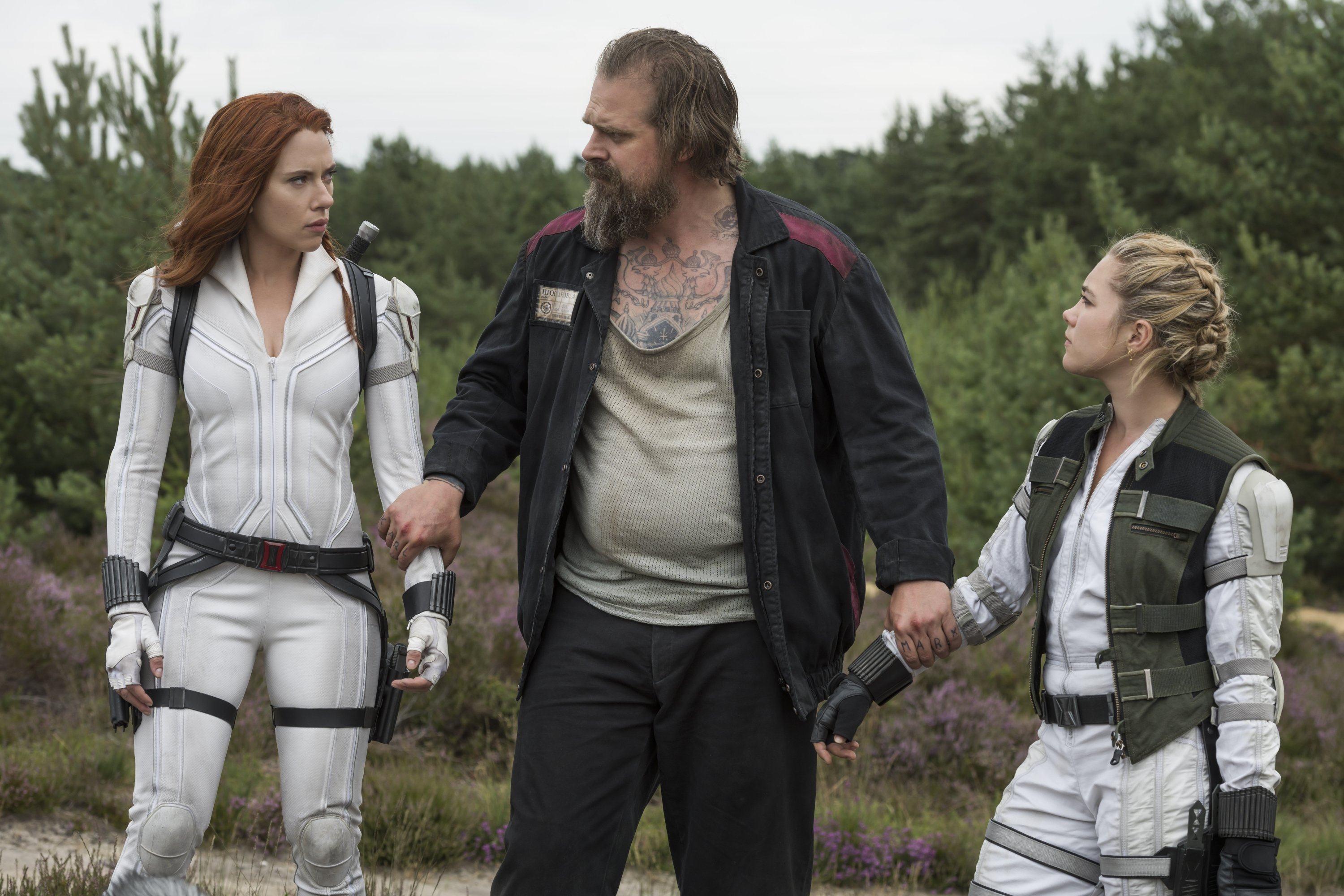 David Harbour (C) holds the hands of Scarlett Johansson (L) and Florence Pugh in a scene from Marvel superhero film 'Black Widow.' (Disney via AP)