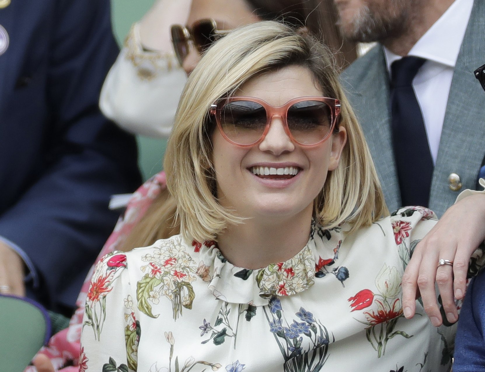 Actress Jodie Whittaker sits in the Royal Box on Centre Court to watch the women's singles final match on day twelve of the Wimbledon Tennis Championships in London, U.K., July 13, 2019. (AP Photo)