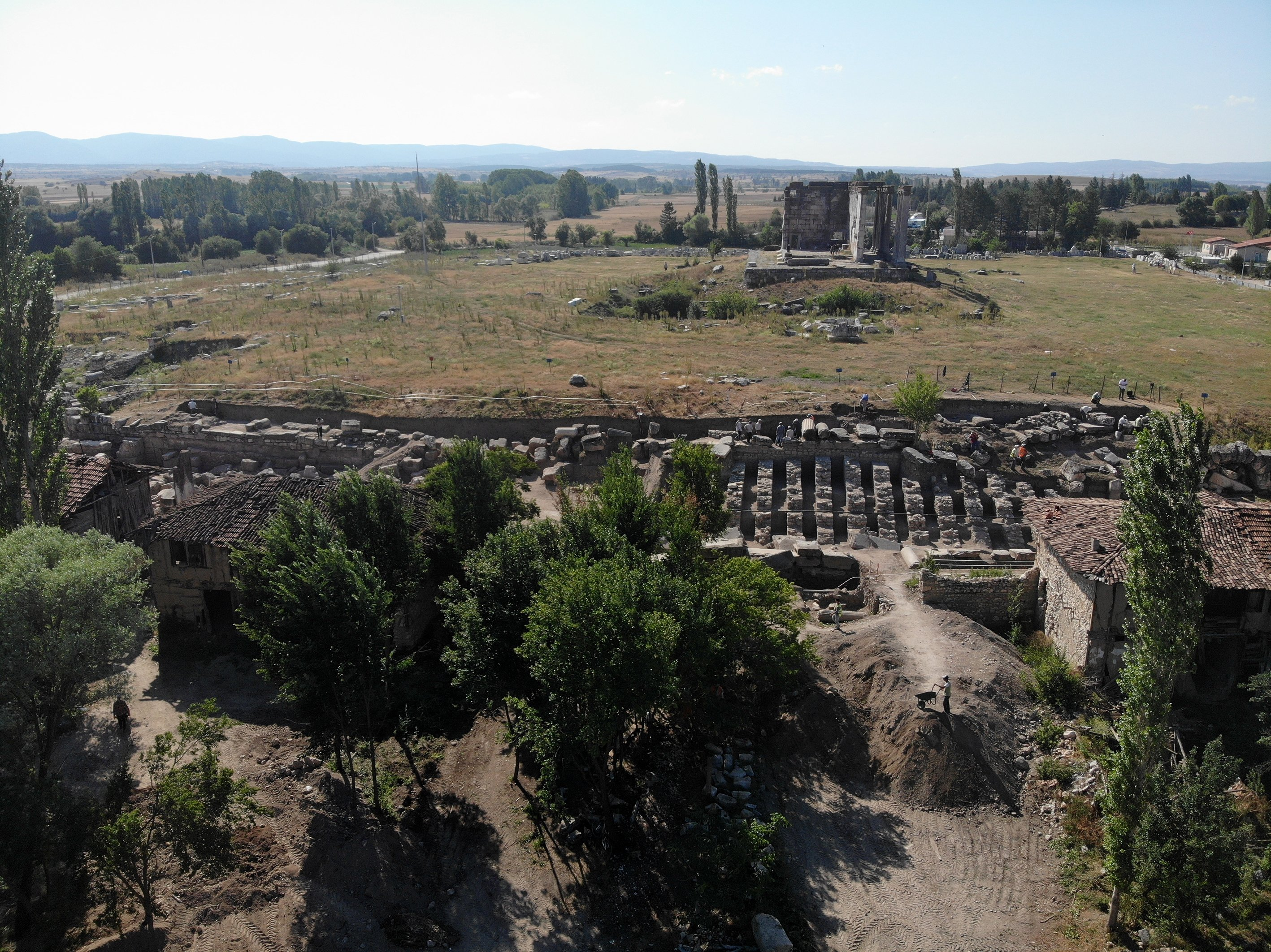 A general view from the monumental entrance gate and the Zeus Temple in the ancient city of Aizanoi, Kütahya, western Turkey, July 30, 2021. (AA Photo)