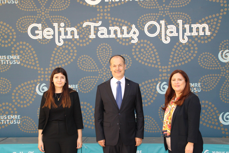 Head of Yunus Emre Institute (YEE) Şeref Ateş (C) together with Daily Sabah Ankara representative Nur Özkan Erbay (R) and correspondent Dilara Aslan (L) at the institute in Ankara, Turkey, July 29, 2021 (Daily Sabah Photo)