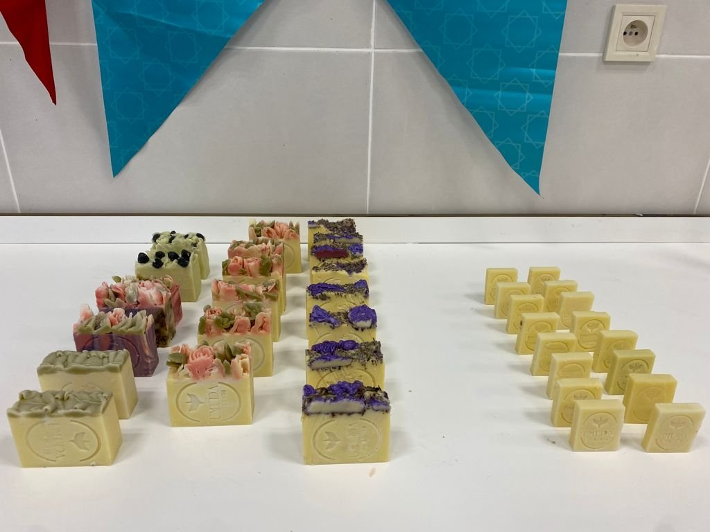 Soaps produced by Syrians as part of the Yunus Emre Institute's project is seen in this photo. (Courtesy of the YEE)