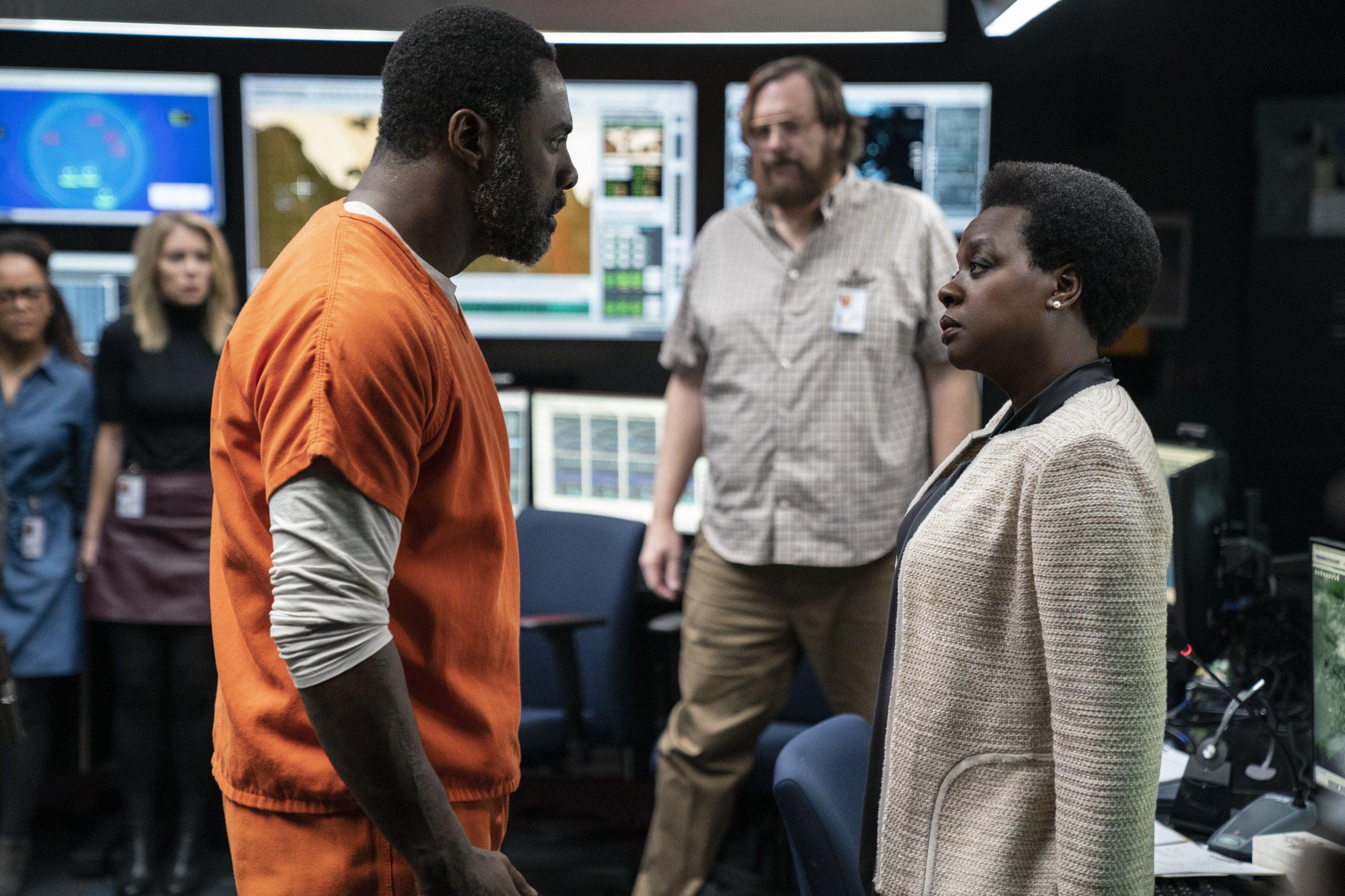 This image provided by Warner Bros. Pictures shows Idris Elba, left, and Viola Davis in a scene from 'The Suicide Squad.' (Warner Bros. Pictures via AP)