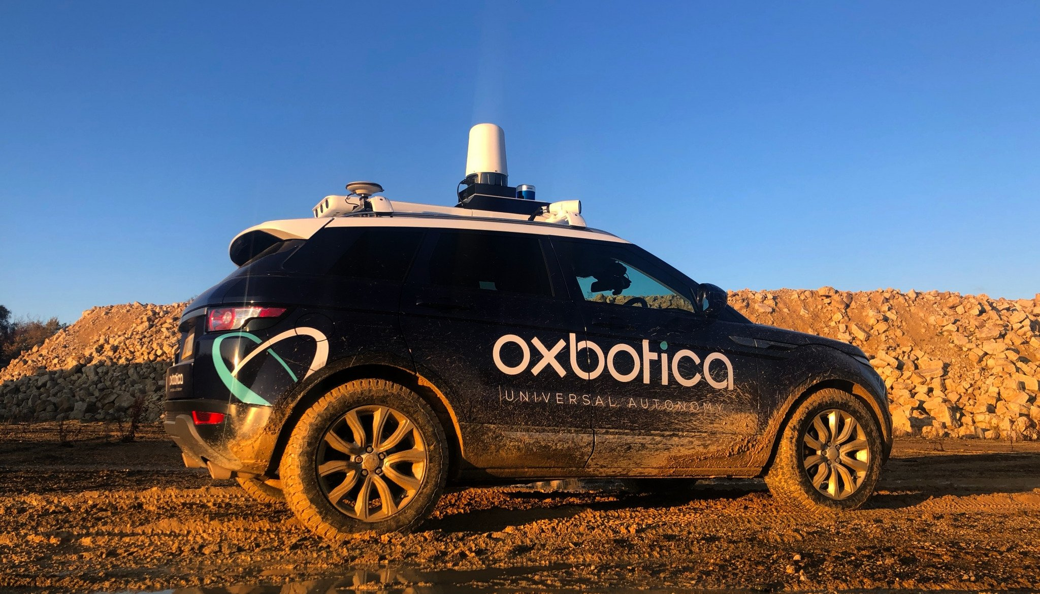 A vehicle equipped with Oxbotica's autonomous software is seen during a trial in a quarry in this undated photo. (Courtesy of Oxbotica)
