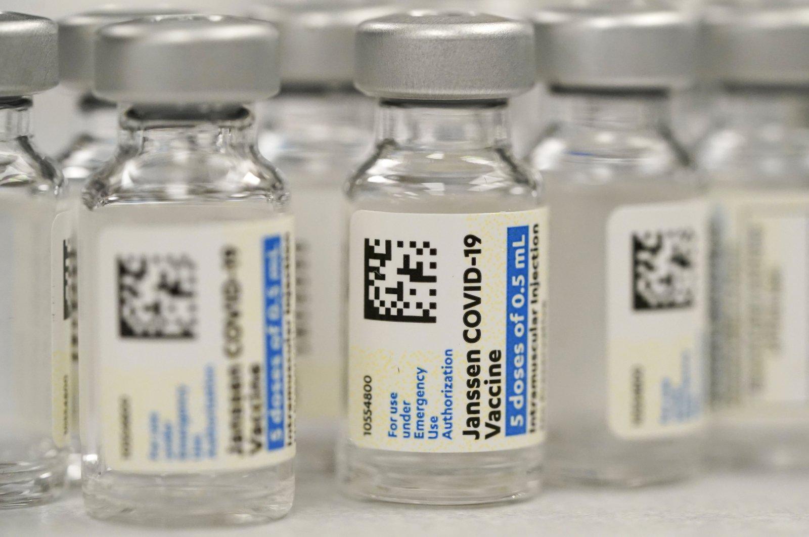Vials of Johnson & Johnson COVID-19 vaccine at a pharmacy in Denver, Colorado, U.S., March 6, 2021. (AP Photo)