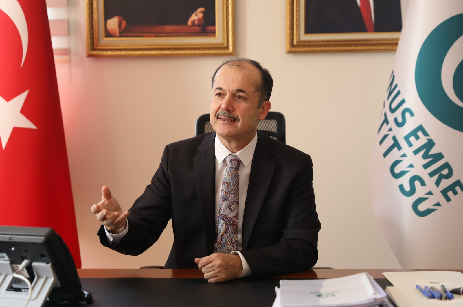 Head of the Yunus Emre Institute (YEE) Şeref Ateş speaking at an interview with Sabah daily in Ankara, Turkey, Dec. 16, 2019 (Sabah Photo)