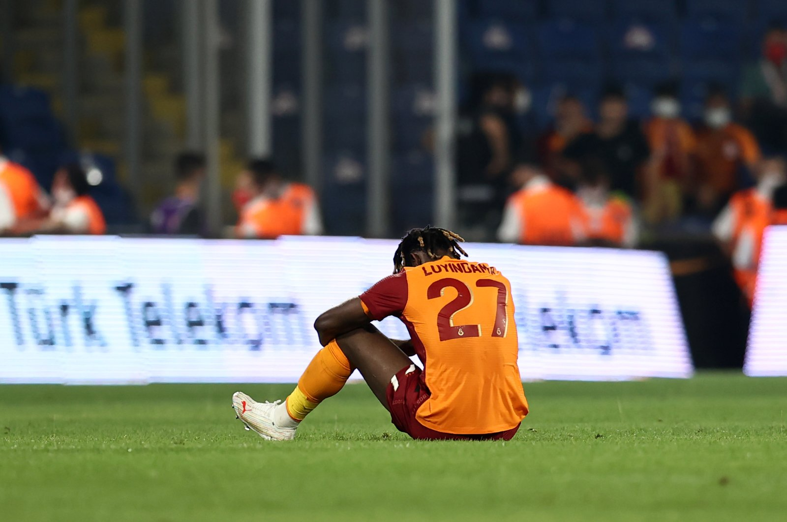 Galatasaray player Luyindama looks dejected after a 2-1 defeat against PSV Eindhoven at the Europea League qualifiers in Fatih Terim Stadium, Istanbul, Turkey, July 28, 2021. (AA Photo)