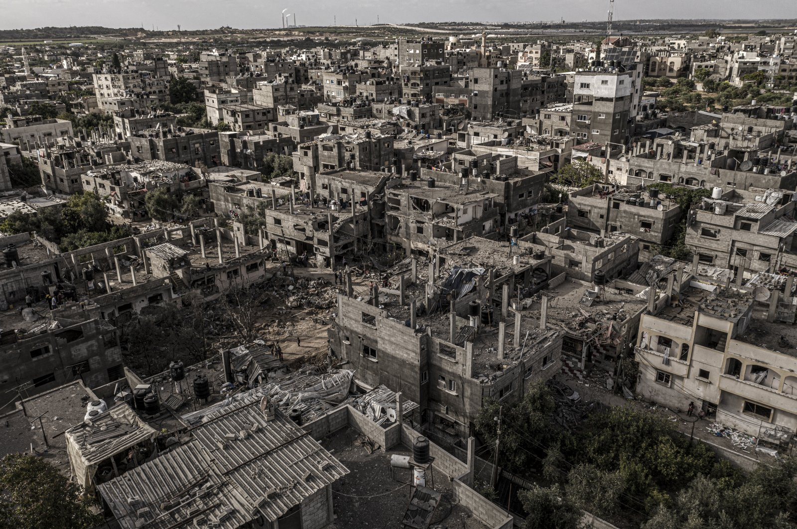 A drone views of the ruins of buildings that was destroyed by Israeli air strikes, Gaza, Palestine, June 11, 2021.  (Photo by Getty Images)