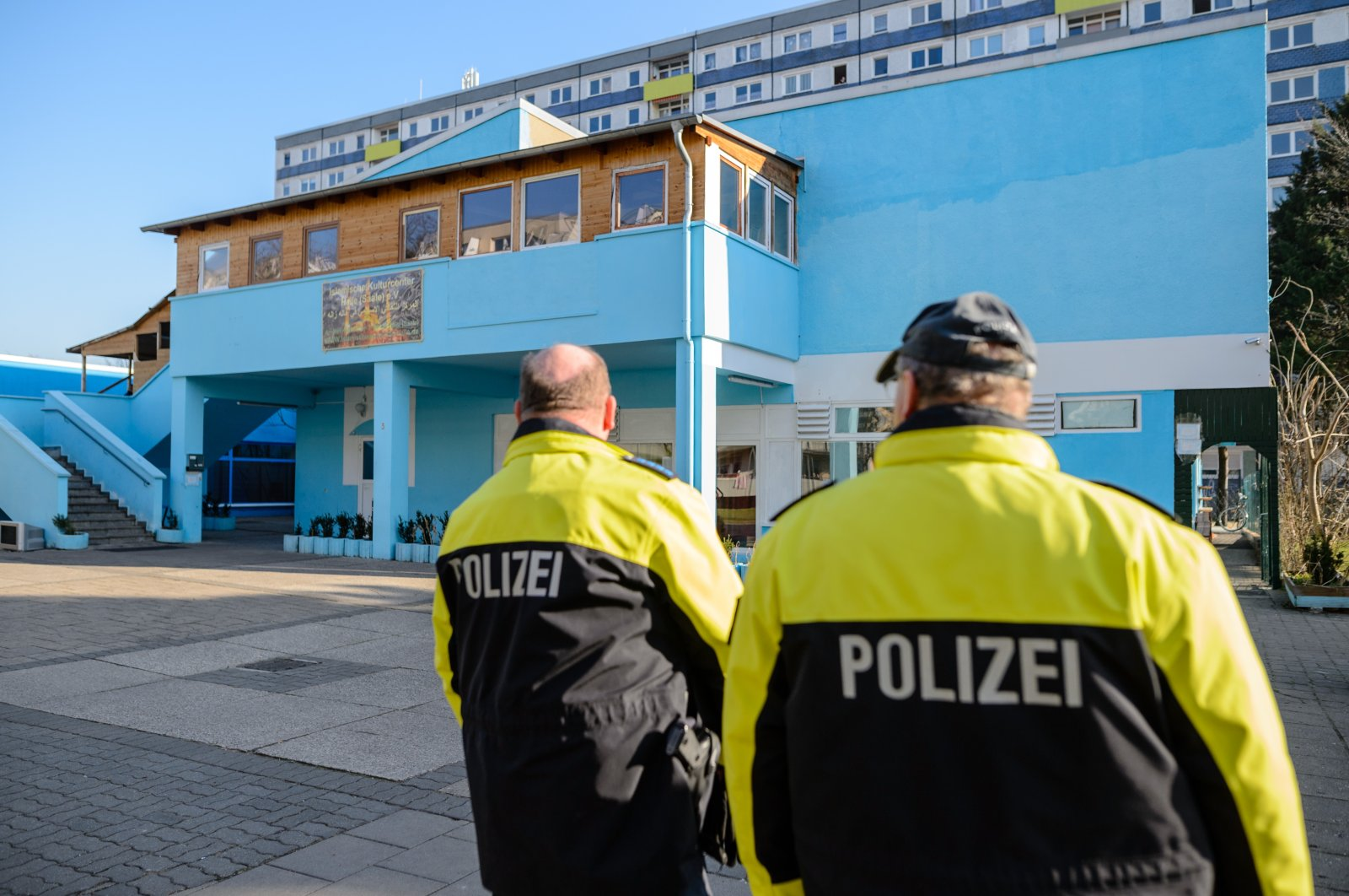Two policemen secure a Muslim cultural center and mosque following a recent attack, in Halle an der Saale, Germany, Feb. 14, 2018. (Getty Images)