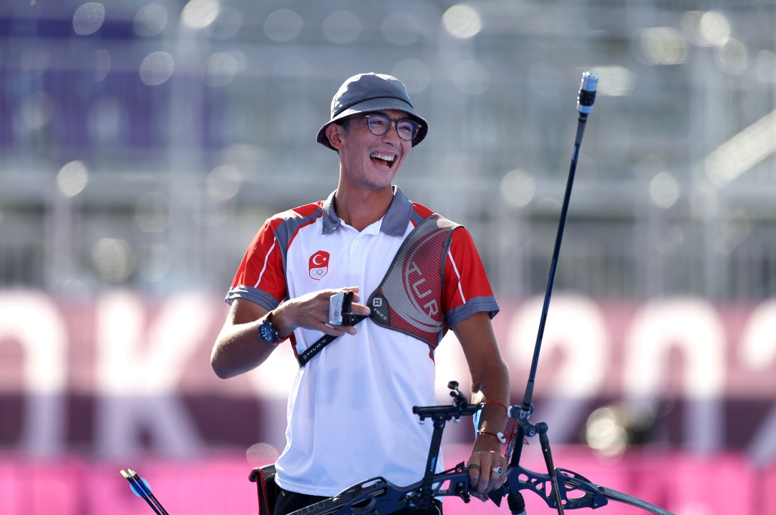 Turkey's Olympic athelete Mete Gazoz competes in the individual archery finals in the Tokyo 2020 Olympics in Tokyo, Japan, July 31, 2021. (AA Photo)