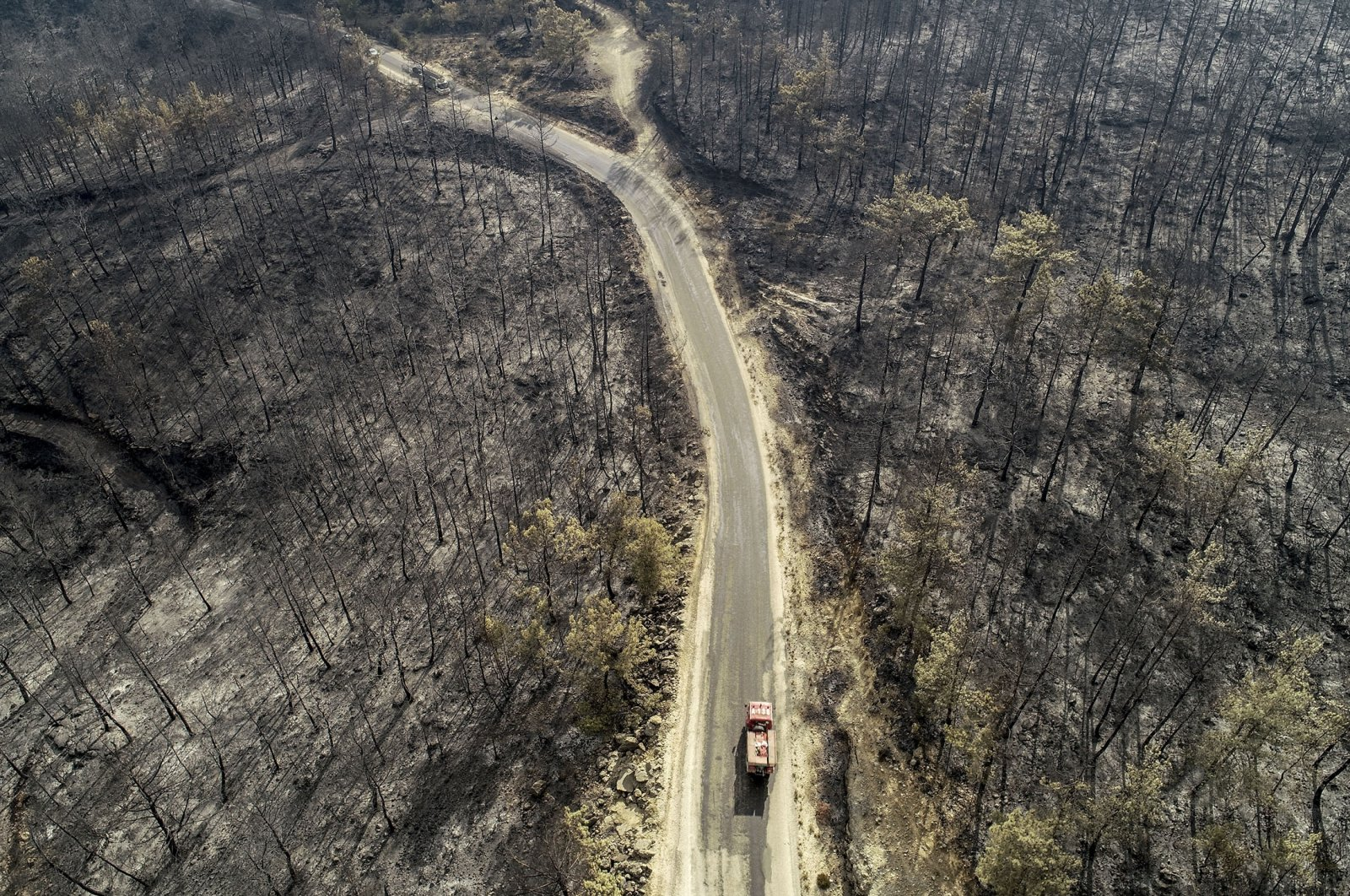 An aerial view shows a fire truck driving along a road surrounded by a burnt forest in the Manavgat district of Antalya, Turkey, July 31, 2021. (AA Photo)