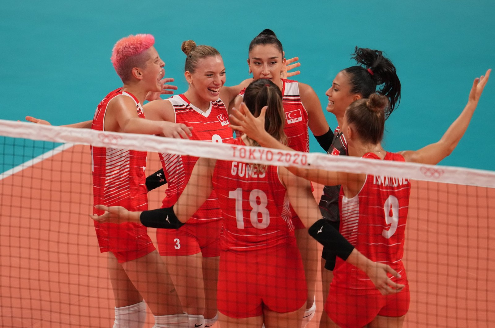 The Turkish National Women's Volleyball Team celebrates after defeating Argentina 3-0 to reach the quarterfinals at the Tokyo 2020 Olympic Games, Tokyo, Japan, July 31, 2021. (AA Photo)