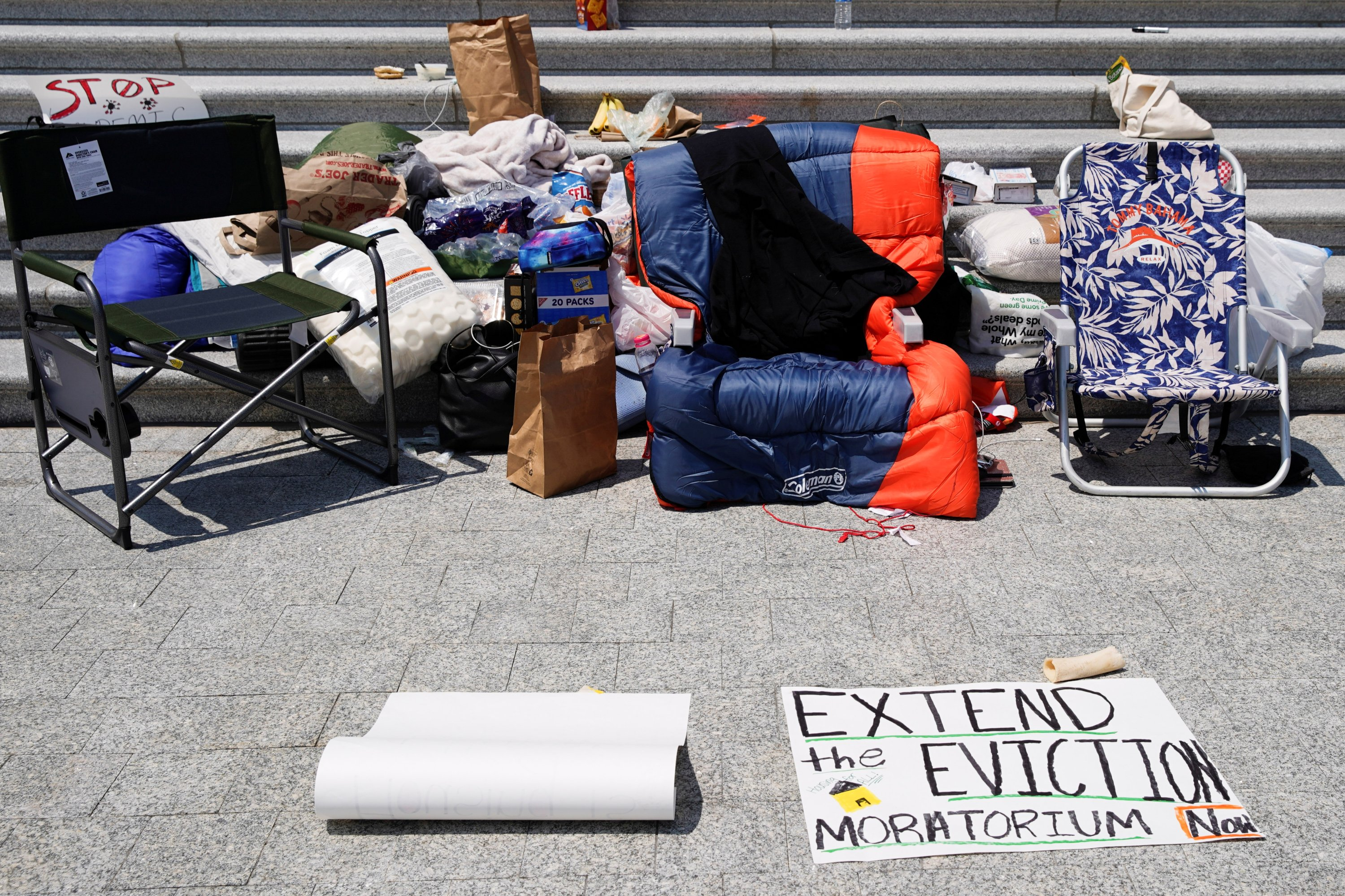 A sleeping bag is seen on a chair as people camp out on the steps of the U.S. Capitol to highlight the upcoming expiration of the pandemic-related federal moratorium on residential evictions, in Washington, U.S., July 31, 2021. (Reuters Photo)
