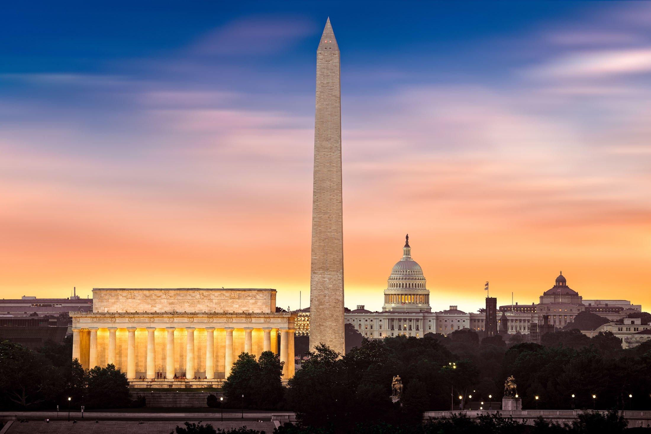 Sun dawns upon the three iconic monuments of Washington,Lincoln Memorial, Washington Monument and the Capitol Building, Washington, U.S. (Shutterstock Photo)