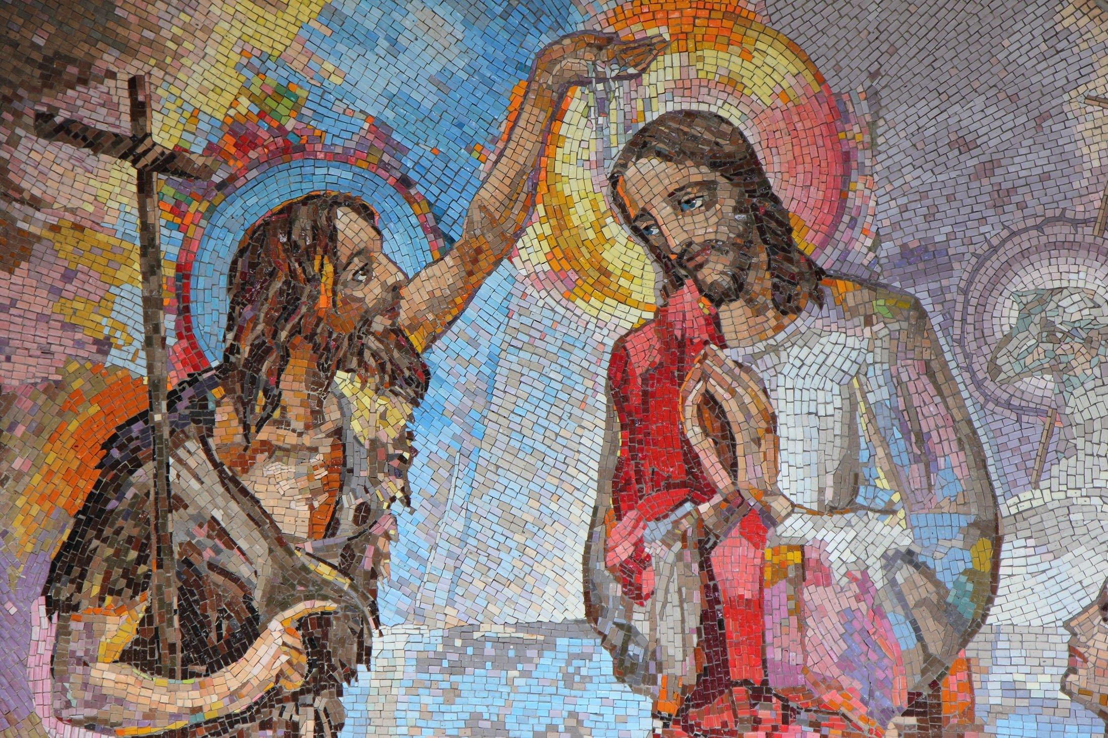 A historical mosaic depicts thebaptism of the Prophet Jesus by Saint John the Baptist, Medjugorje, Bosnia-Herzegovina, June 5, 2016. (Shutterstock Photo)