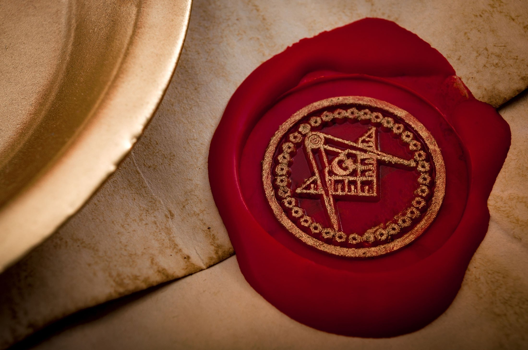 A letter is sealed with the Masonic Square and Compasses with the letter 'G,'one of the most identifiable masonic symbols. (Shutterstock Photo)