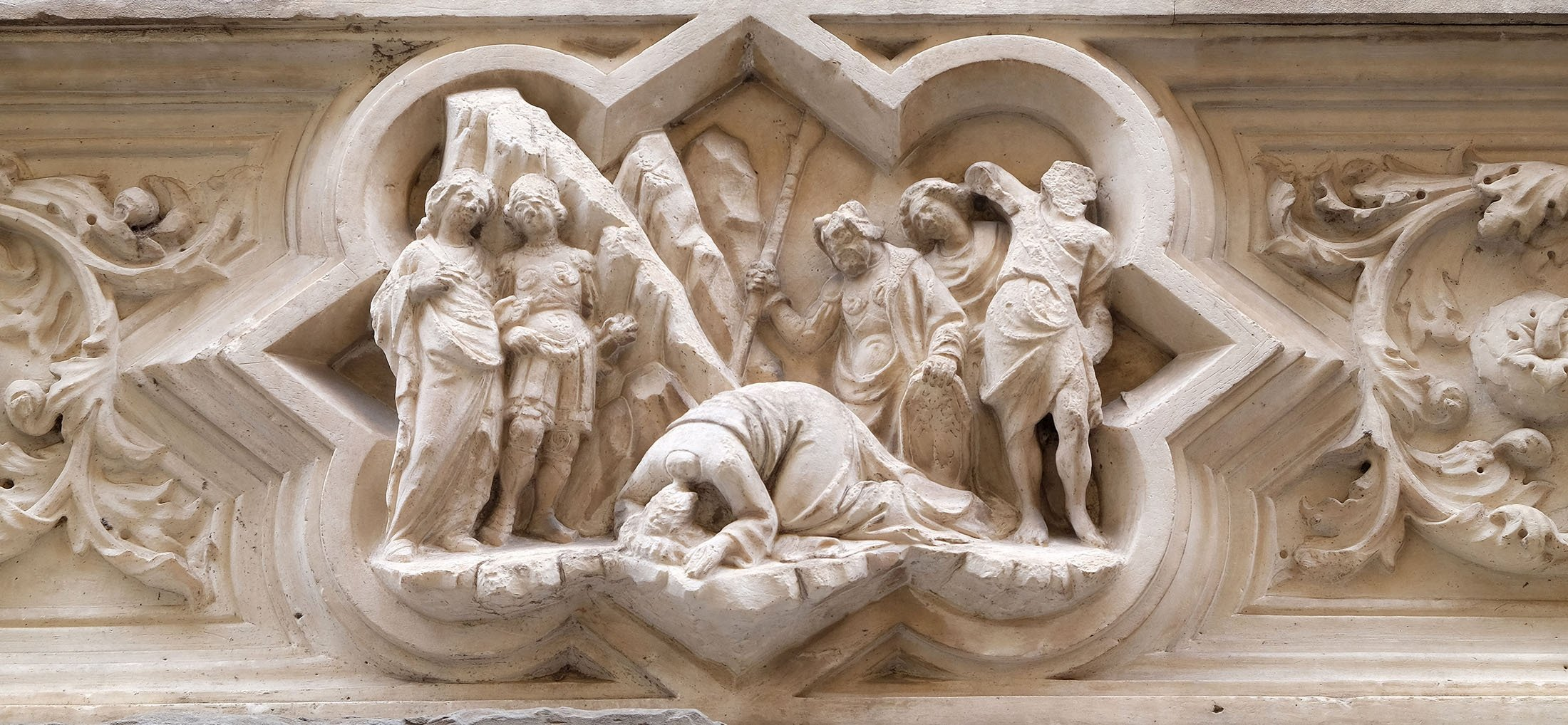 TheSaintJames the Greater predella depicts the beheading of SaintJohn the Baptist,on the external wall of Orsanmichele Church in Florence, Tuscany, Italy, Jan. 9, 2019. (Shutterstock Photo)