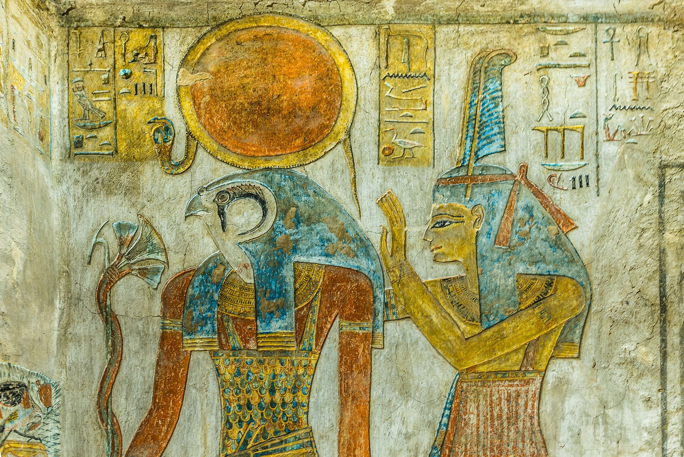 The paintings of Egyptian god Ra and Maat can be seen in the tombKV 14,the tomb of Twosret and Setnakhte in the Valley of the Kings, Luxor, Egypt, Oct.21, 2018. (Shutterstock Photo)