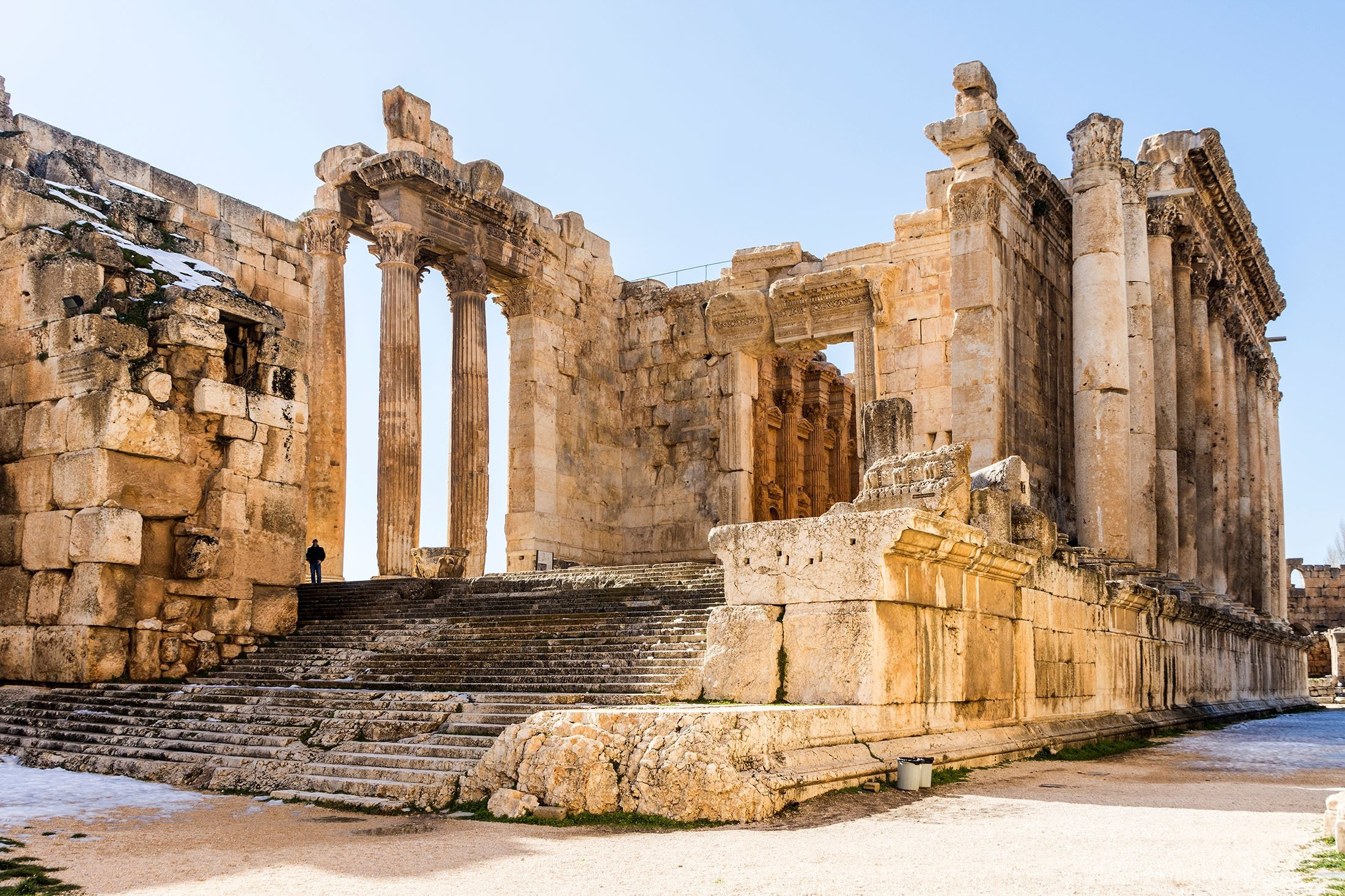 The ruins of the Temple of Bacchus, the Roman god of wine, can be seen in Roman Heliopolis, Baalbek, Lebanon, Jan. 23, 2019. (Shutterstock Photo)