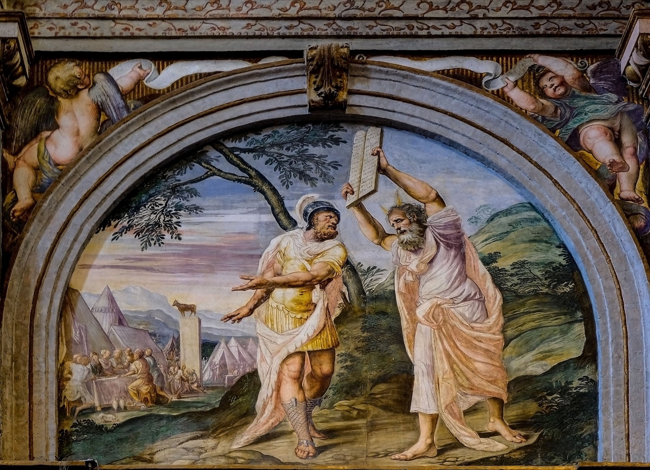 A fresco depicts the Prophet Moses descend from Mount Sinai withthe Ten Commandments in the Church of Saint Maurice al Monastero Maggiore, Milan, Italy, July 25, 2017. (Shutterstock Photo)