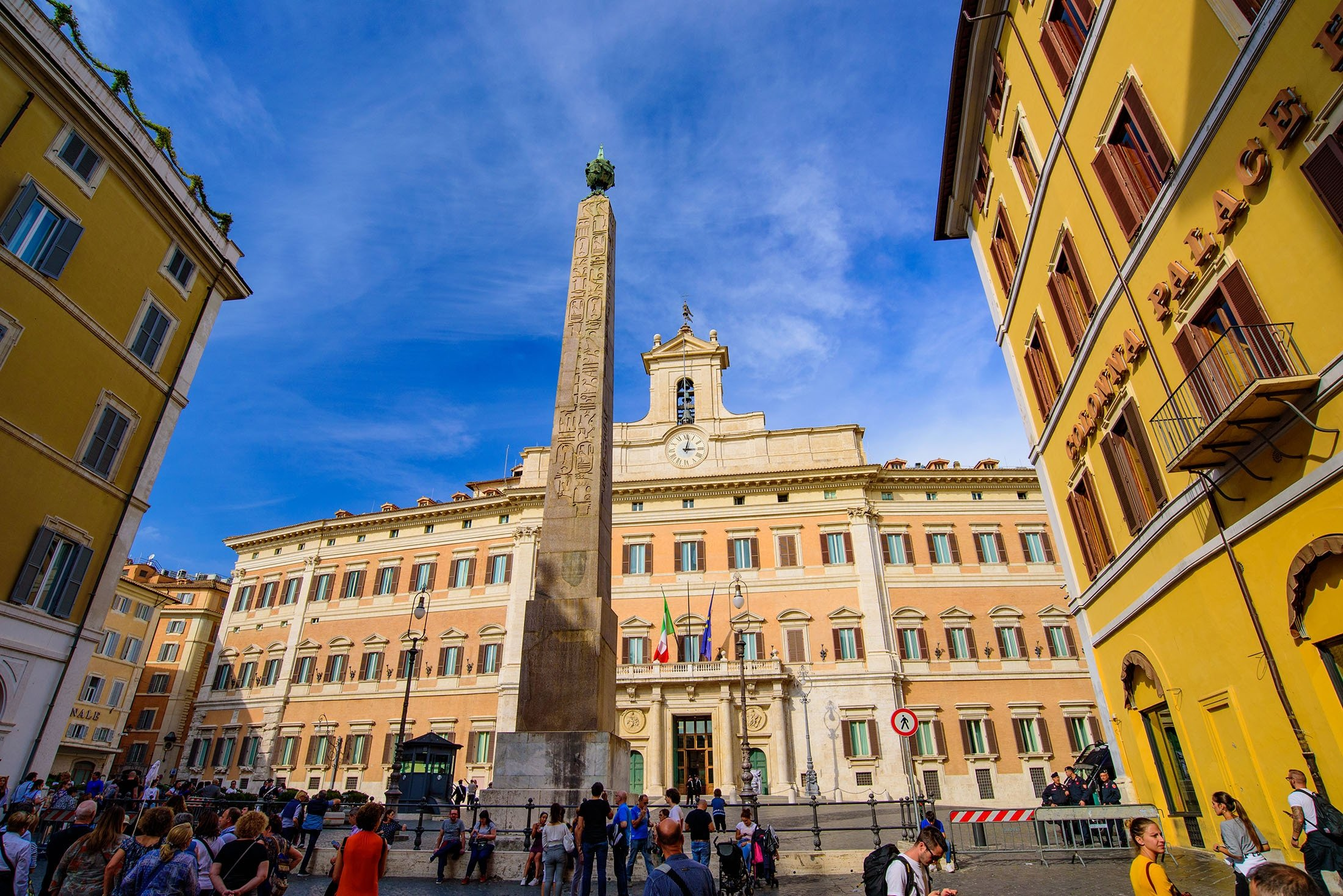 The Obelisk ofMontecitorio, an ancient Egyptian obelisk of Psamtik II from Heliopolis, can be seen in Rome, Italy, Oct. 13, 2019. (Shutterstock Photo)