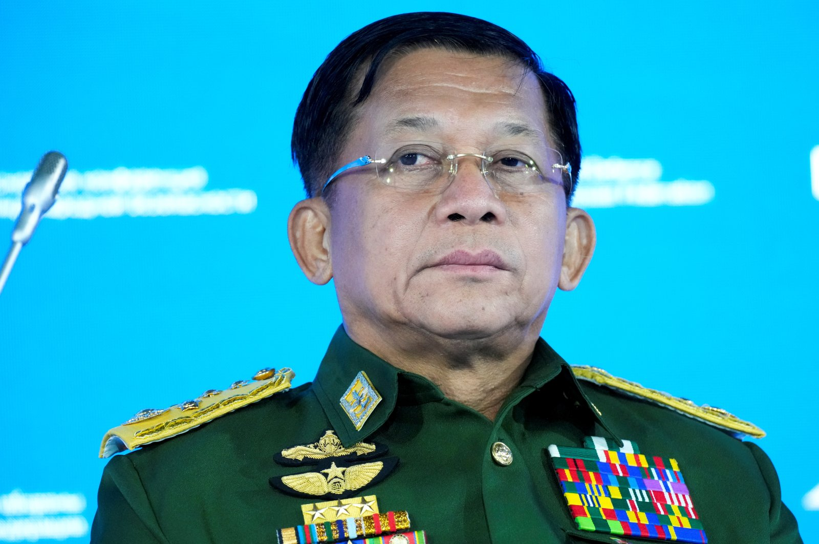 Commander in Chief of Myanmar's armed forces Senior Gen. Min Aung Hlaing attends the IX Moscow conference on international security in Moscow, Russia June 23, 2021. (Reuters Photo)