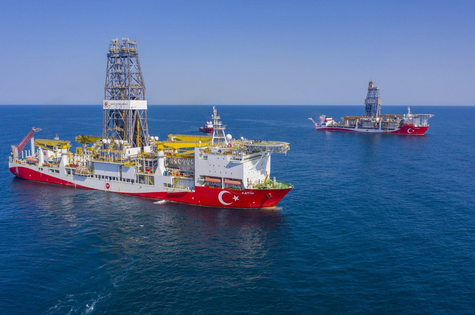 Turkey's Fatih (L) and Kanuni drillships are seen in the Sakarya gas field in the Black Sea, Turkey, July 29, 2021. (AA Photo)