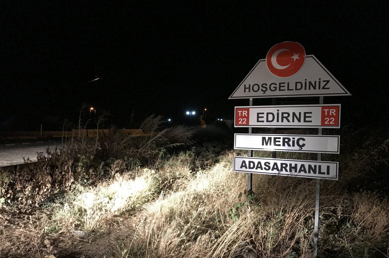 The welcome sign of Adasarhanlı village in Edirne, Turkey, is seen in this photo taken on Aug. 1, 2021. (AA Photo)