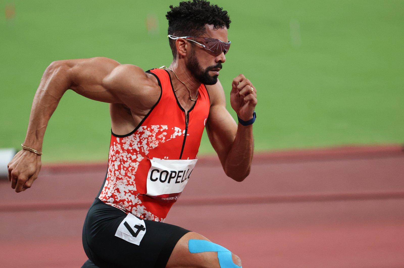 Turkish athlete Yasmani Copello Escobar in action at the Tokyo 2020 Olympics 400-meter hurdles semifinal, Tokyo, Japan, Aug. 1, 2021.
