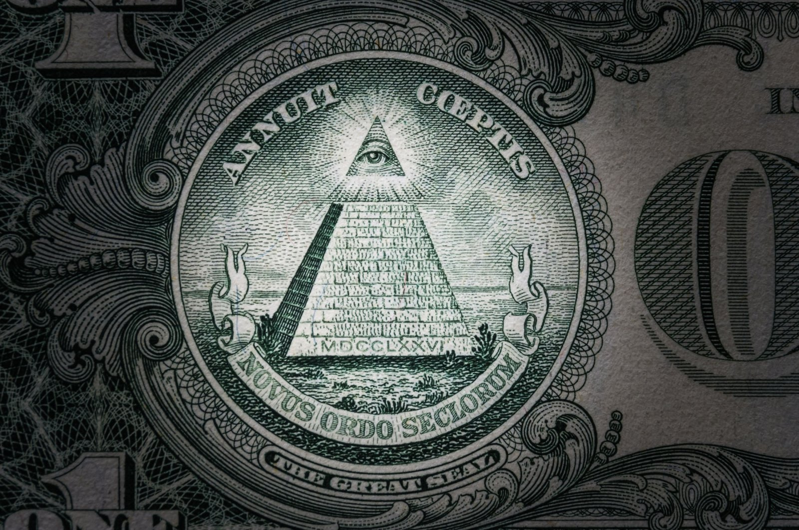 """The Eye of Providence, a symbol of Freemasonry, can be seen on the $1 bill accompanied with the phrase """"Novus ordo seclorum"""" (New world order). (Shutterstock Photo)"""