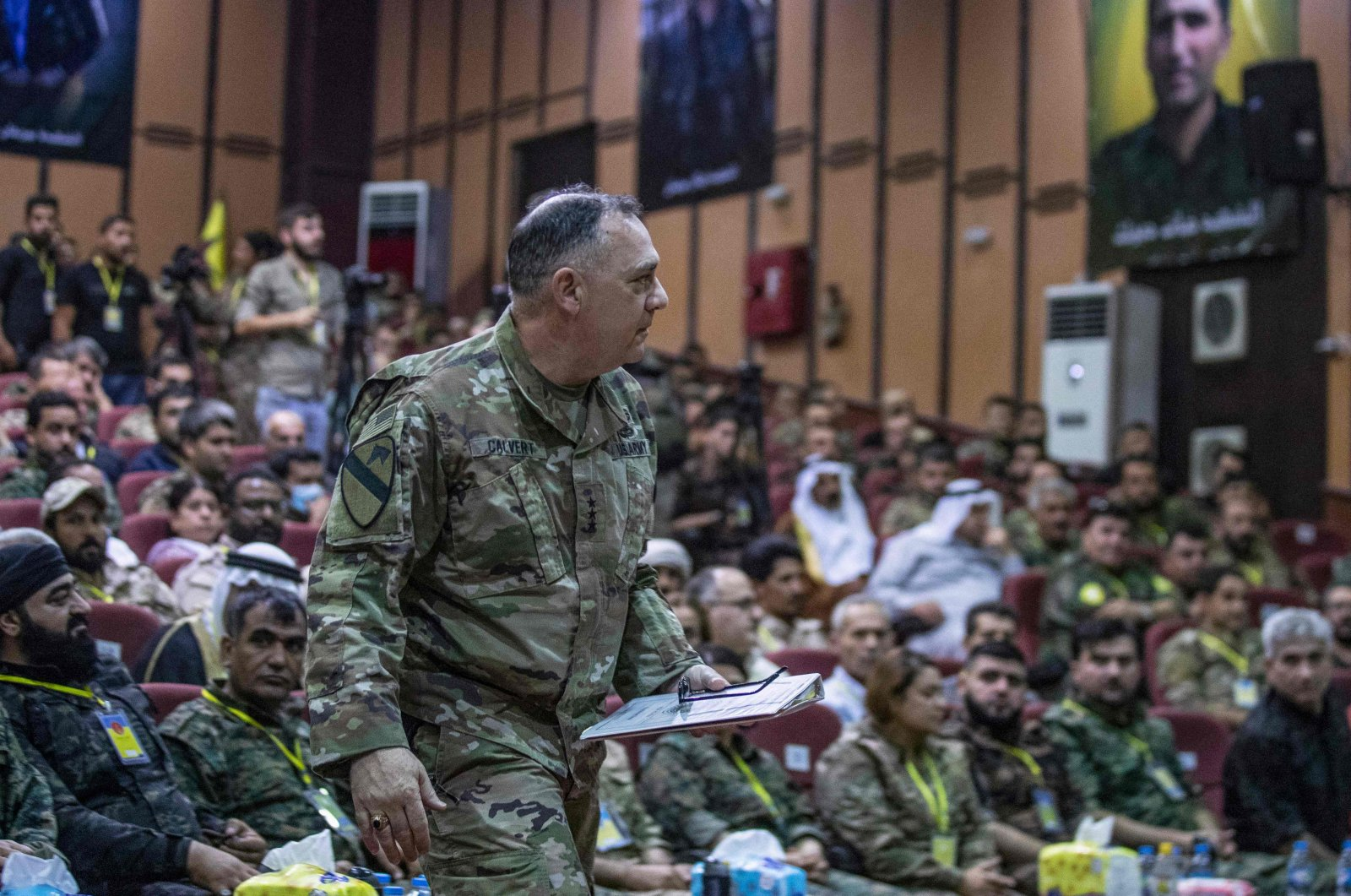 U.S. Commander of the Combined Joint Task Force Paul T. Calvert attends the terrorist SDF's annual meeting in Syria's northeastern city of Hassakeh, Aug. 1, 2021. (AFP Photo)