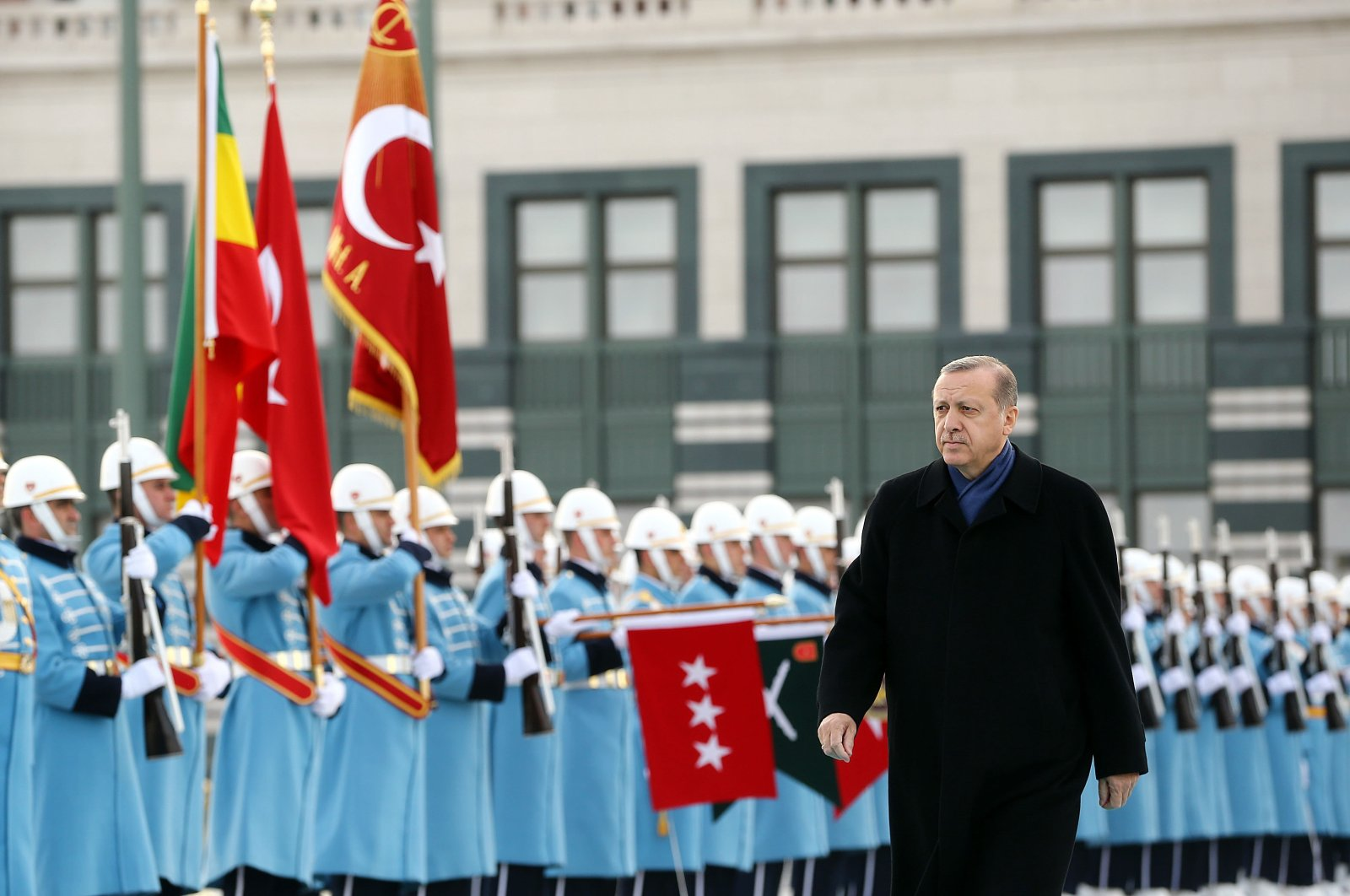 President Recep Tayyip Erdoğan welcomes Ethiopian President Teshome in an official ceremony in Ankara, Turkey, Feb. 7, 2017. (Sabah File Photo)