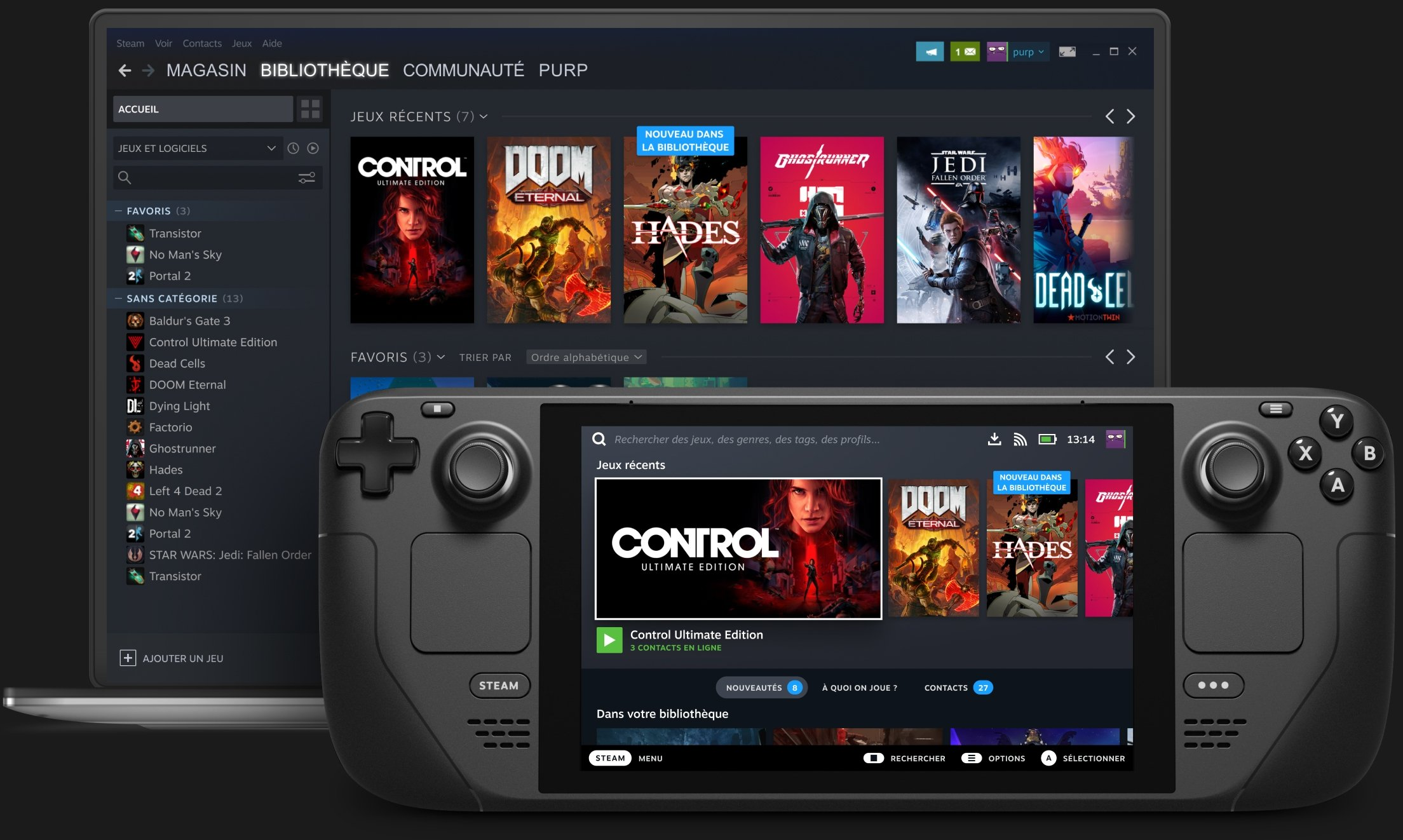 Steam Deck handheld is seen in front of a laptop (Credit: Valve)