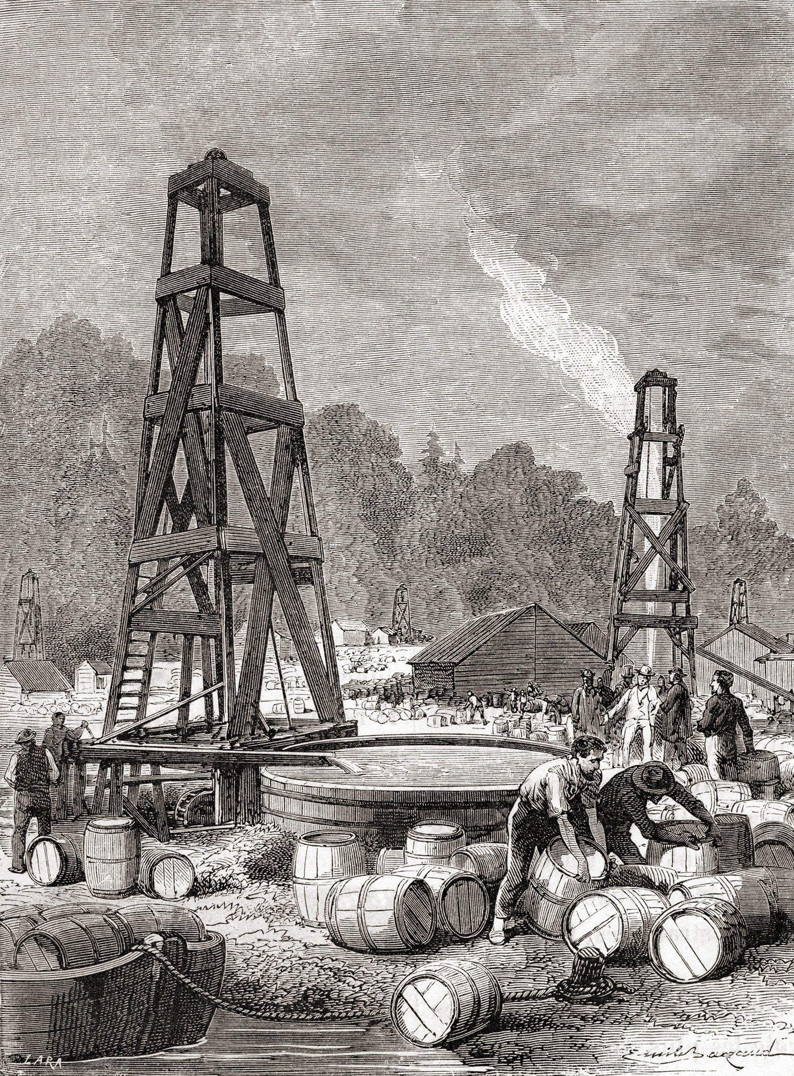 A painting depicts a source of petroleumdiscovered by Edwin Laurentine Drake in 1858,at Oil Creek on the Allegheny River, Pennsylvania, U.S., 1870. (Getty Images)