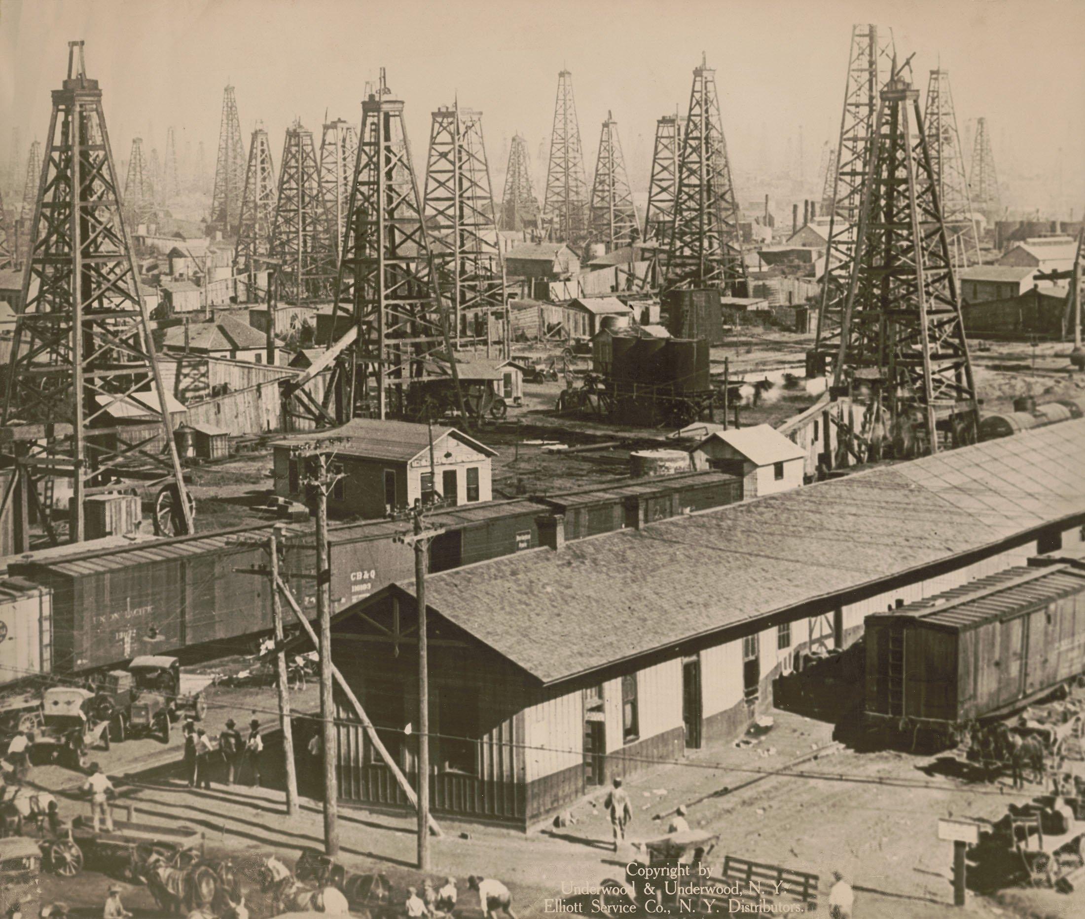 Operational oil derricks and street scene can be seen inBurkburnett, Texas, U.S., 1920. (Getty Images)