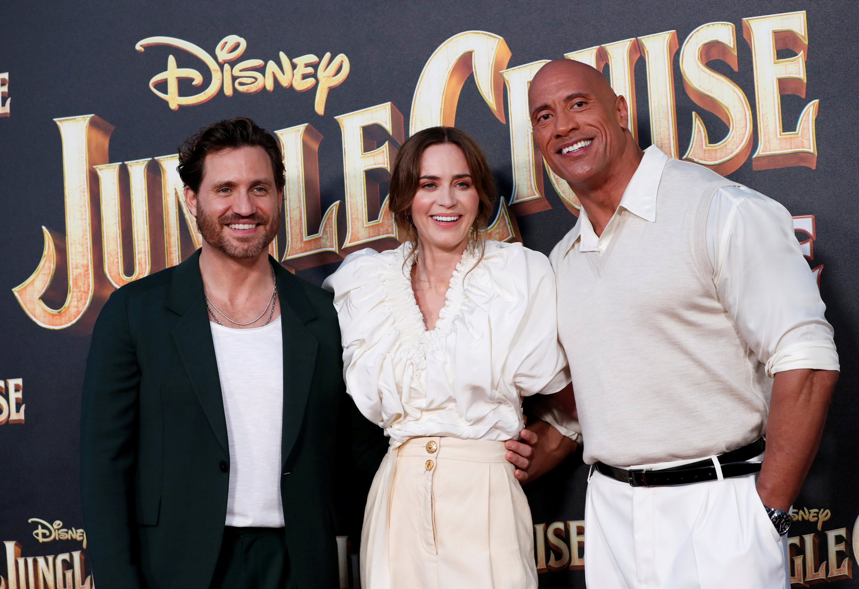 Cast members Edgar Ramirez (L), Emily Blunt and Dwayne Johnson attend the premiere of the film 'Jungle Cruise' at Disneyland Park in Anaheim, California, U.S., July 24, 2021.  (REUTERS Photo)