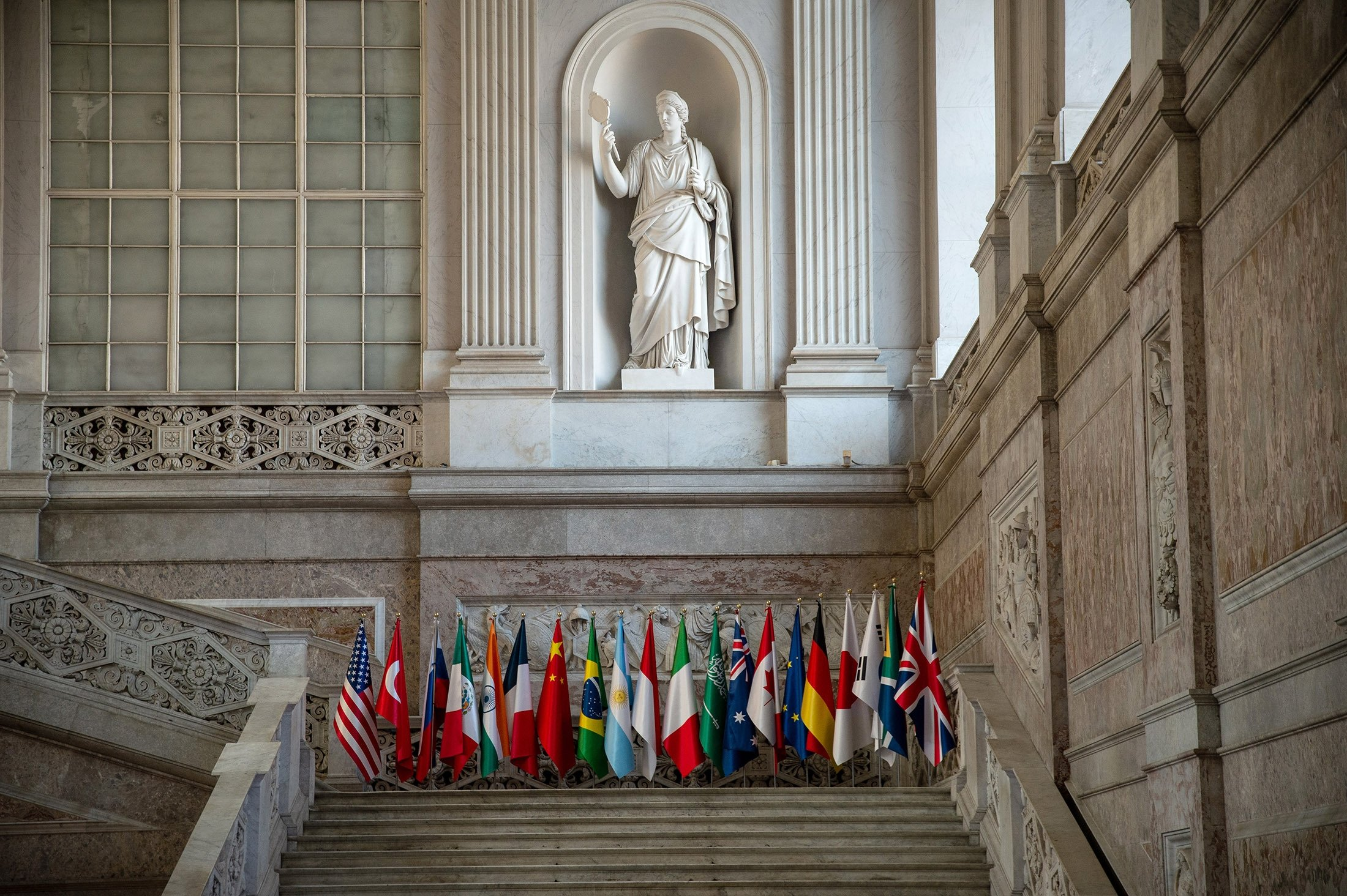 A general view of the reception area of Palazzo Reale during the first day of the G-20 meeting in Naples, Italy, July 22, 2021. (Getty Images Photo)