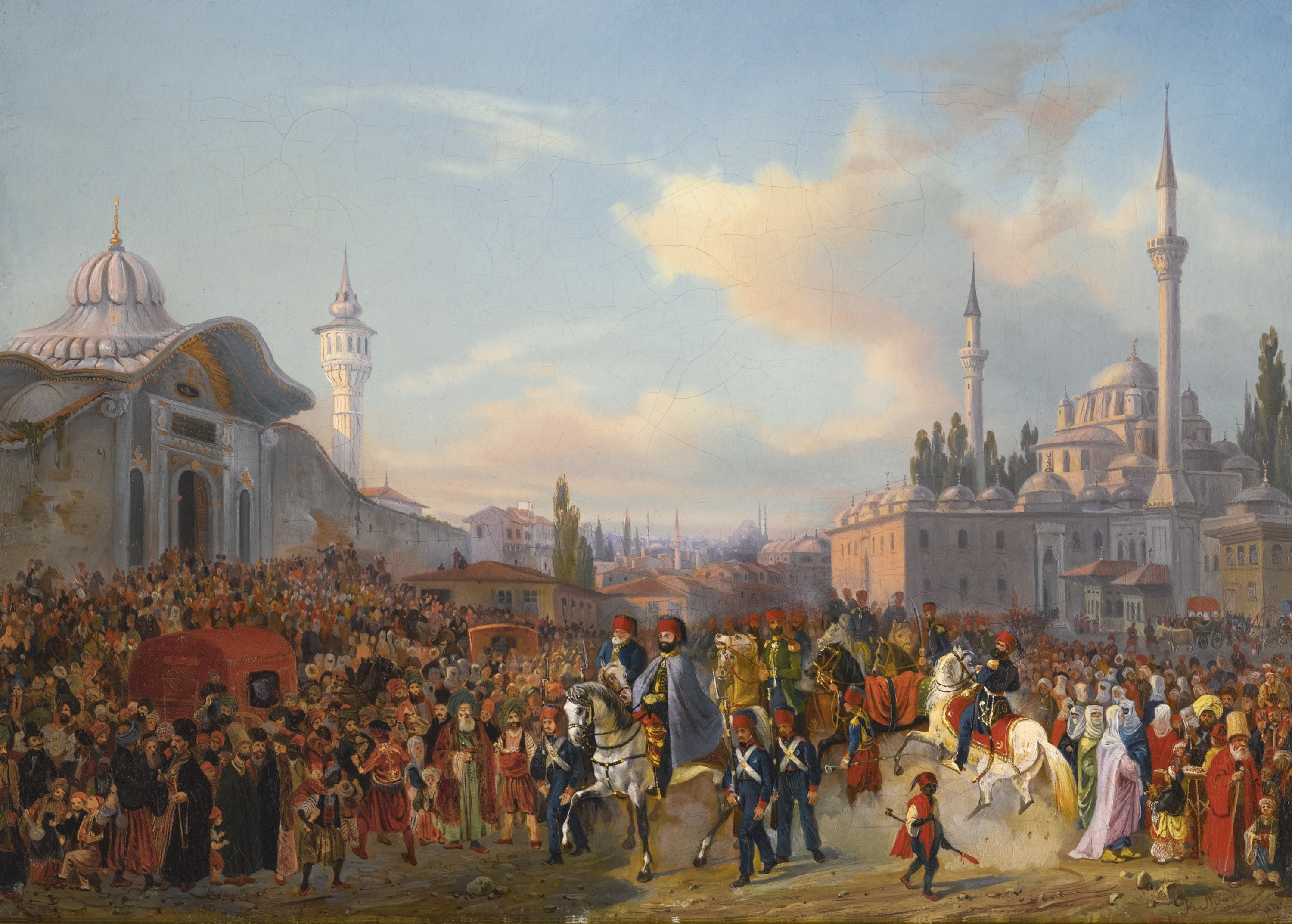 French painter Auguste Etienne François Mayer's (1805-1890) artwork showing Ottoman Sultan Mahmud II leaving Istanbul's iconic Bayezid Mosque in 1837. (Photo by Getty Images)