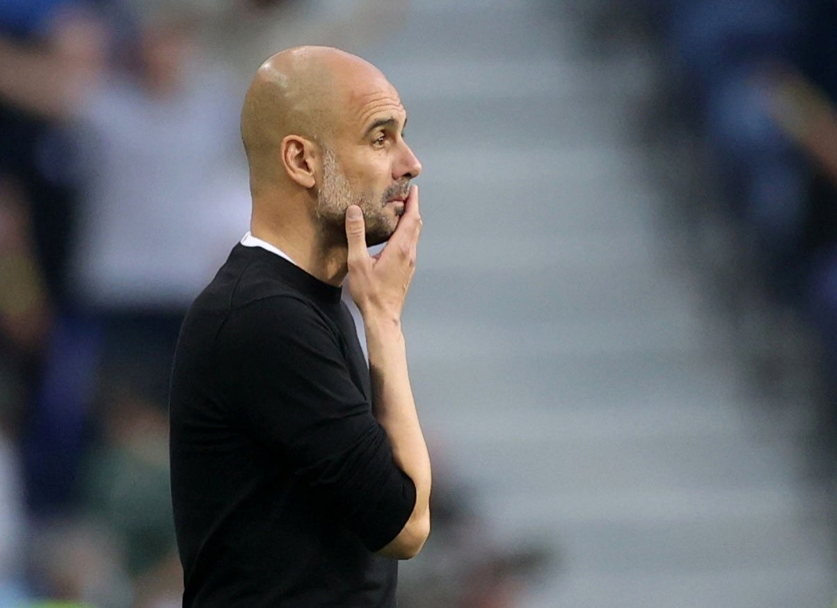 Manchester City manager Pep Guardiola during the Champions League final againstChelsea, Estadio do Dragao, Porto, Portugal, May 29, 2021. (Reuters Photo)