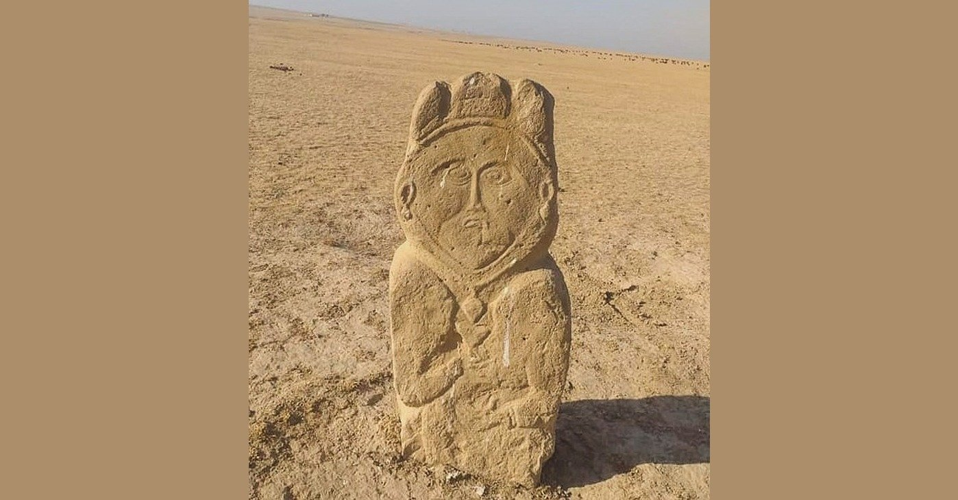 A photo of the stone sculpture found some 250 kilometers from the city of Turkistan, Kazakhstan. (AA Photo)