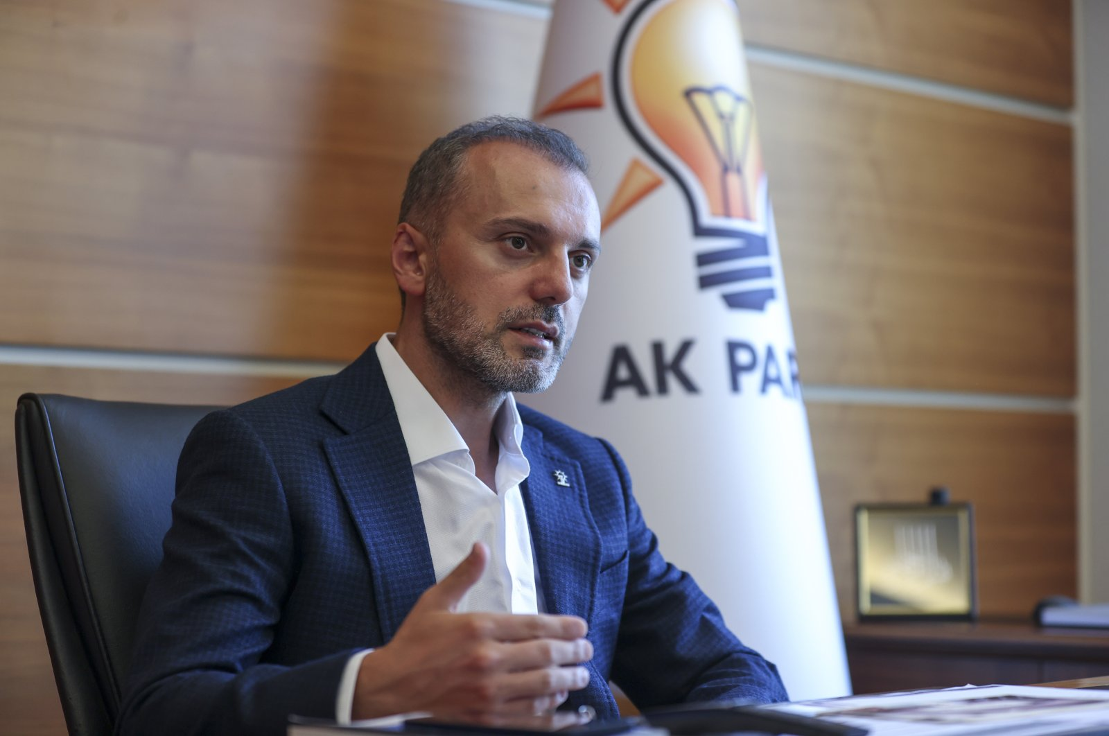 AK Party deputy chairperson responsible for party organizations Erkan Kandemir speaks in an interview, Aug. 2, 2021. (AA Photo)