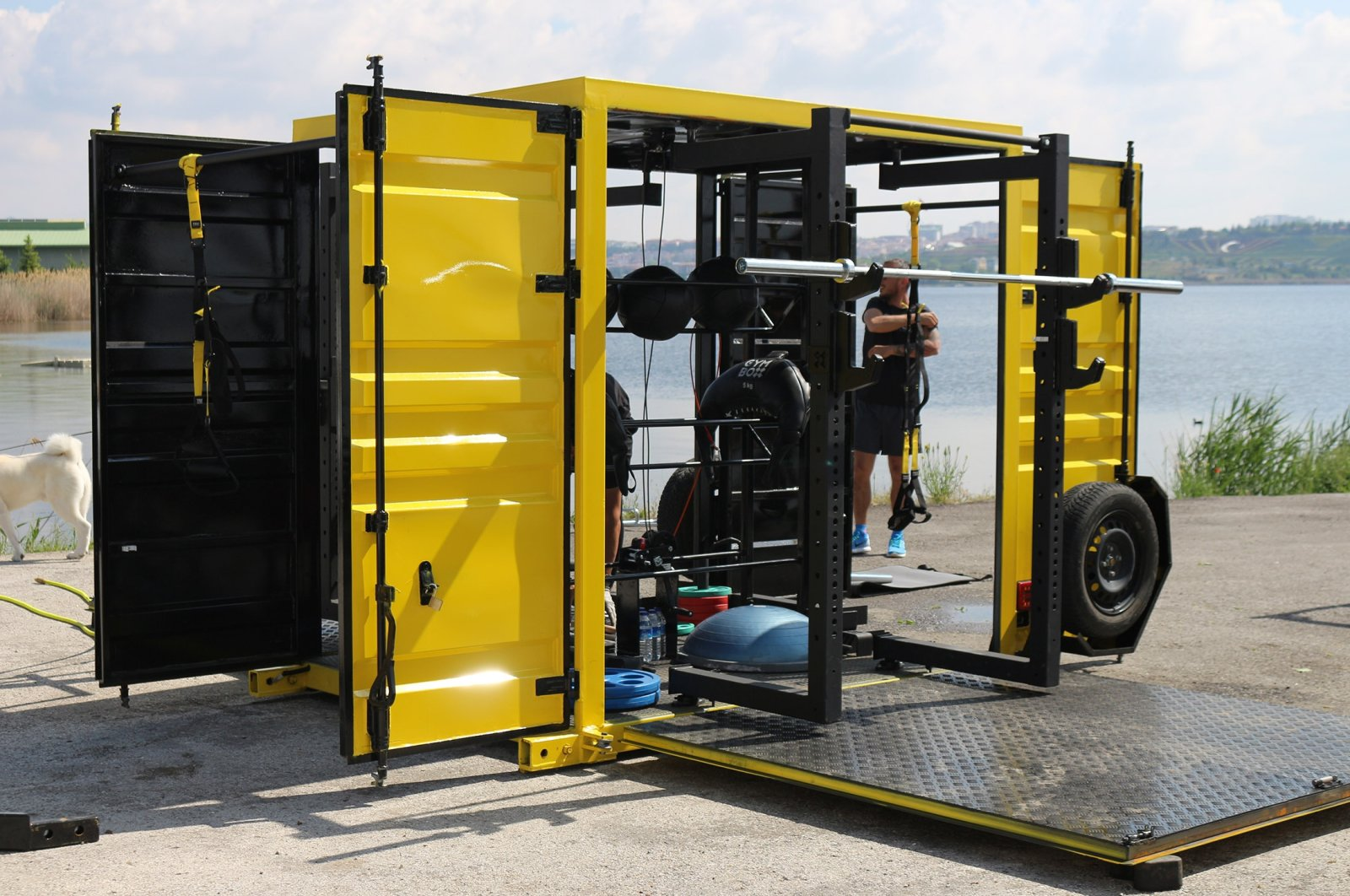 """A portable and outdoor """"Gym Box"""" can be seen in Ankara, Turkey, Aug. 2, 2021. (AA Photo)"""