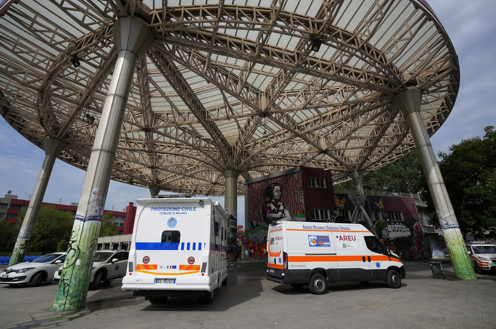 A mobile vaccination unit is parked outside a cultural center on the outskirts of Milan, Italy, July 28, 2021, where people can receive the Johnson & Johnson vaccine for COVID-19. (AP Photo)