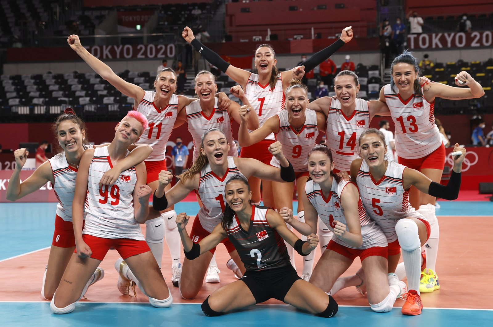 Turkey women's volleyball team celebrates their win against China in Tokyo 2020 Olympics Pool B tie at the Ariake Arena, Tokyo, Japan, July 25, 2021. (Reuters Photo)