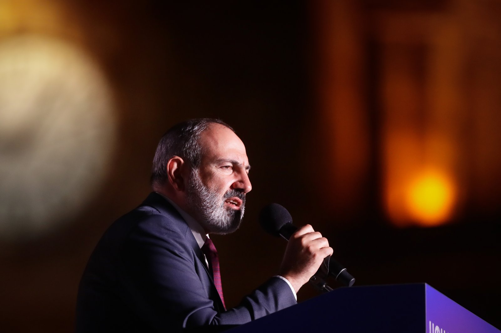 Armenian acting Prime Minister Nikol Pashinian attends a rally in his support after winning snap parliamentary elections in Yerevan, Armenia, June 21, 2021. (AP File Photo)