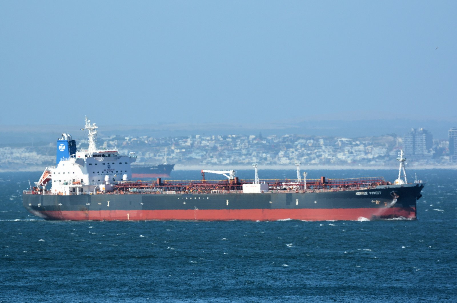 The Mercer Street, a Japanese-owned Liberian-flagged tanker managed by Israeli-owned Zodiac Maritime that was attacked off Oman coast as seen in Cape Town, South Africa, December 31, 2015. (REUTERS Photo)