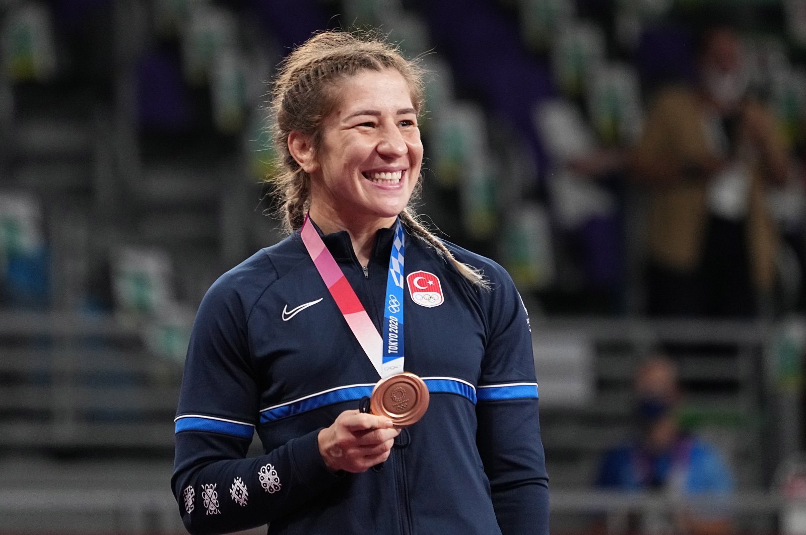Bronze medalist Yasemin Adar of Turkey poses on the podium during the medal ceremony for the Women's Freestyle 76kg Wrestling final of the Tokyo 2020 Olympic Games at the Makuhari Messe convention centre in Chiba, Japan, 02 August 2021. (EPA Photo)