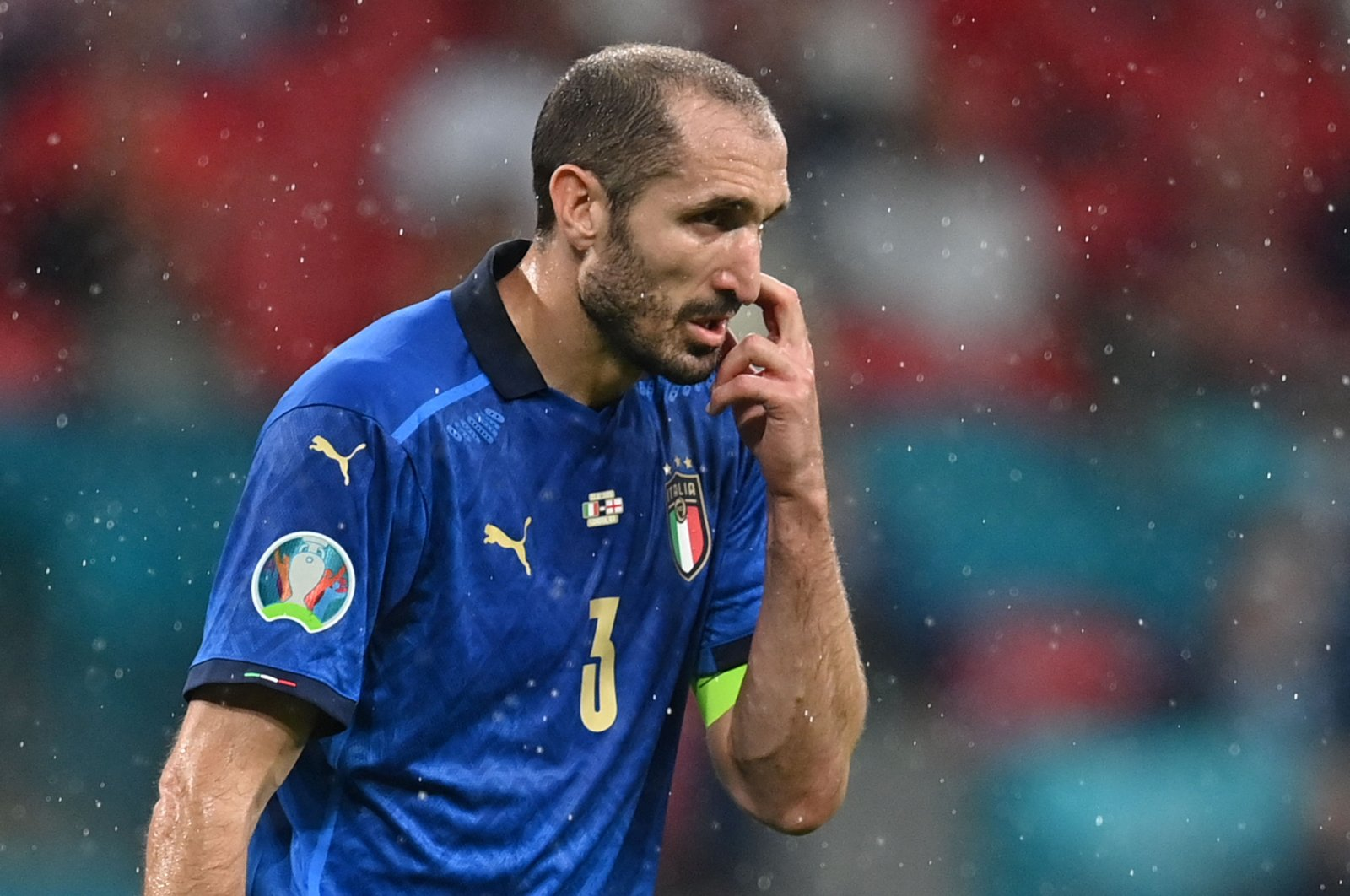 Italy's defender Giorgio Chiellini reacts during the UEFA EURO 2020 final against England at the Wembley Stadium, London, England, July 11, 2021. (AFP Photo)
