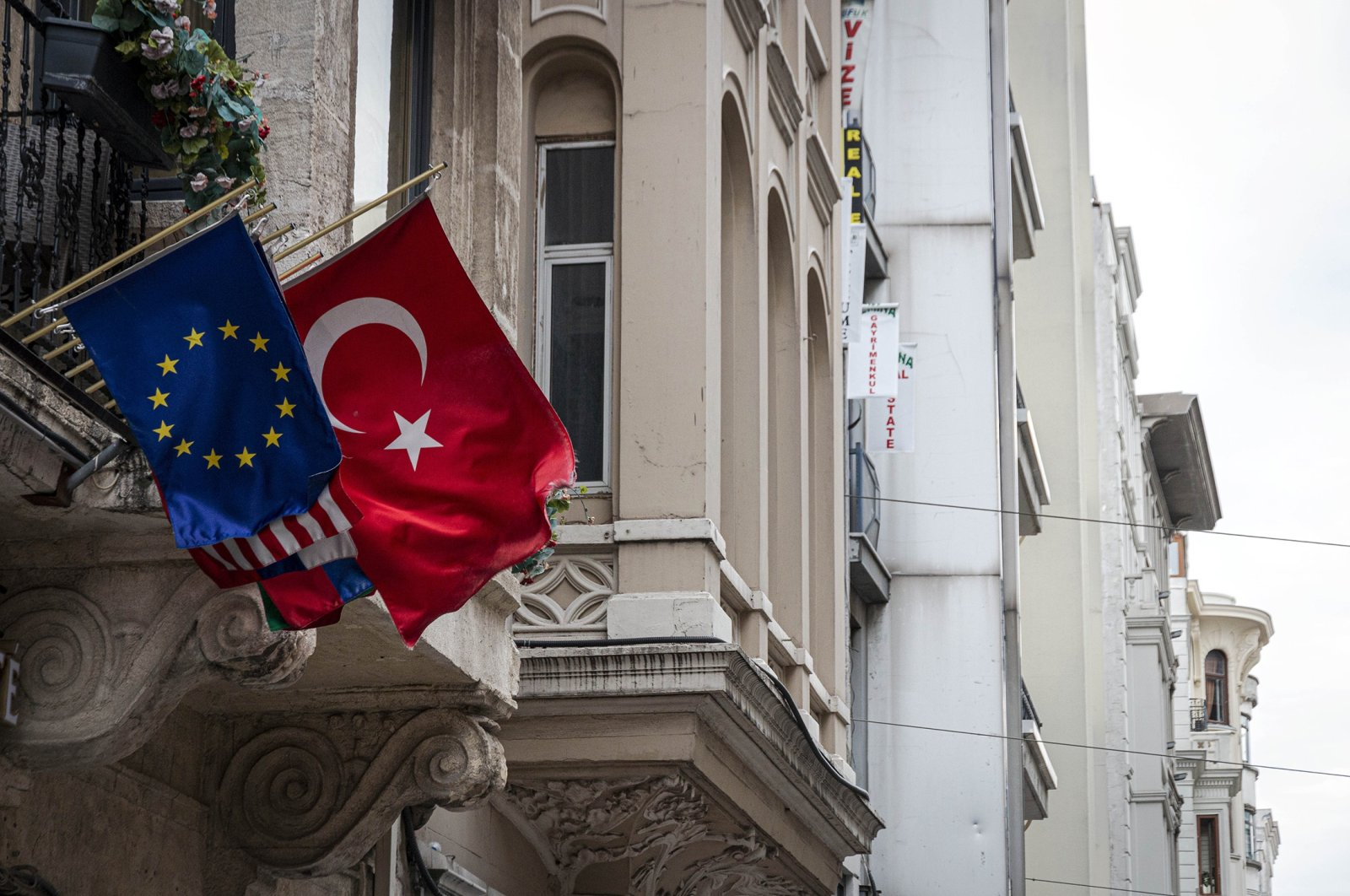 The European Union and Turkish flags fly side by side on Istiklal Avenue, in Istanbul, Turkey, Sept. 5, 2020. (Getty Images)