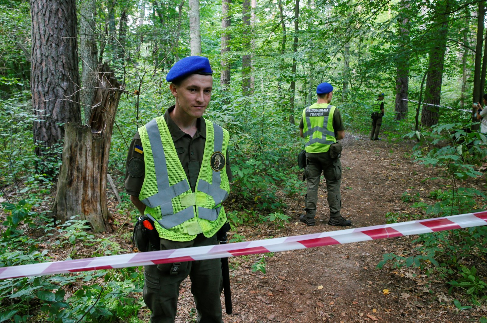 A view of the site where Vitaly Shishov, who led a Kyiv-based organisation that helps Belarusians fleeing persecution, was found dead in Kyiv, Ukraine, August 3, 2021. (Reuters Photo)